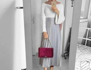 NEW Silver Long Pleated Skirt