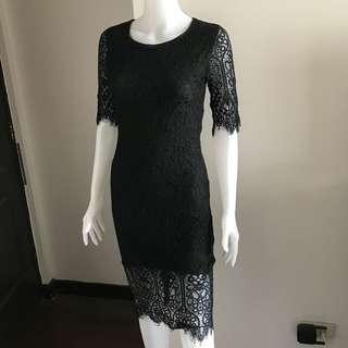 Black midi lace dress