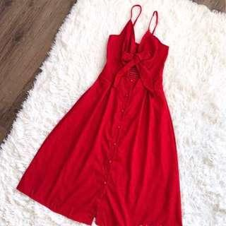 Red Tie Bra Linen Dress