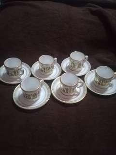 Vintage Neofitou Hand Made 24k Gold Plated Greece Demitasse Cup Saucer Set of 6