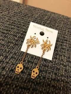金色蜘蛛骷髏頭造型耳環