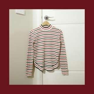 Striped knit mock neck top