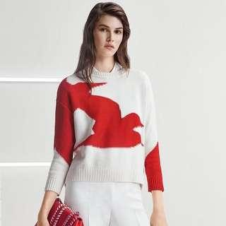 Hugo Boss女士毛衣混紡圓領海鷗編織8316hg0882 Cotton-blend sweater with seagull intarsia