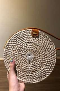 Round rattan bag in white ( free postage )