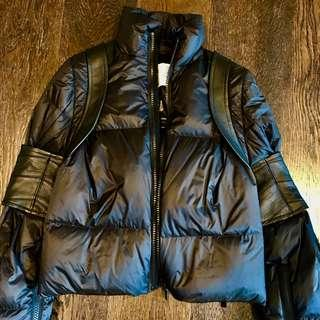 Sacai down short coat with a parts of real leather