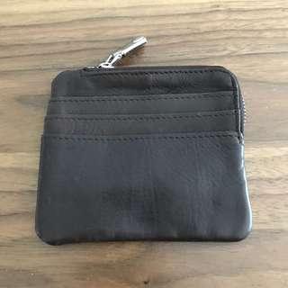 Brown Leather Coin Purse Ezlink VISA Credit Card Holder @sunwalker