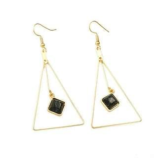 [2 DESIGNS] Gem in Triangle Earrings