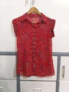 See Through Red Blouse