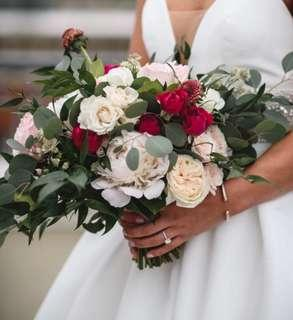 Bridal Bouquet in White Green and Pops of Pink / White Roses / Peonies / Rose Spray and Eucalyptus leaves
