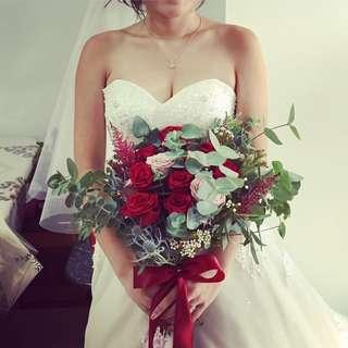 Red Bridal Bouquet with Dusty Pink Roses and Eucalyptus Leaves