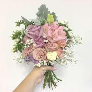 ROM Bouquet in Pastel Roses / Mix Flowers Engagement Bouquet