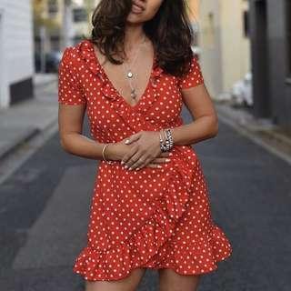 Red Polka Dot Wrap Dress size 6 Xs