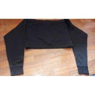 COOLCAT Black Off Shoulder Long Sleeve Blouse #MidSep50