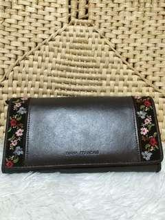 DIANA FRANCAIS EMBROIDERED LEATHER  LONG WALLET