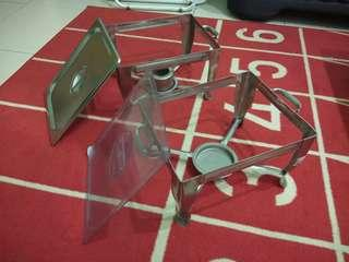 LELONG - 2 sets Stainless Steel Stand + Cover + Wax Holder