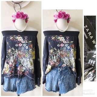 Zara Off Shoulder Floral Printed Blouse
