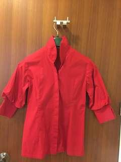 W high collar red blouse