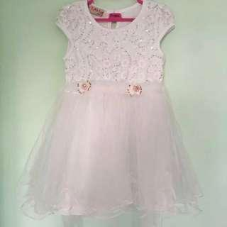 👗FOX'S TAIL👗 Girls' Short Sleeve White Flower/ Foral Lace/ Lacy Sequins Tulle/ Tutu Chiffon/ Skater Dress C/W Ribbon (Size: 110)