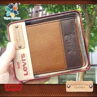 全新 Levi's HandCrafted Leather Wallet 手工製作 真皮銀包, 啡色 Brown