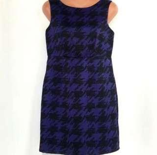 Blue & Black Houndstooth Dress