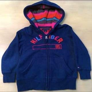 BN 👦TOMMY HILFIGER👦 Authentic Boys' Long Sleeve Navy Blue Jacket/ Sweater with Hood (Size: XS)