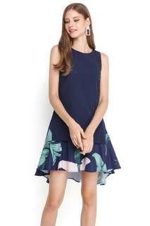 Brand New Hidden Foliage Dress In Blue Florals