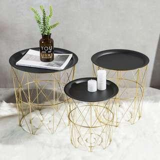 Geometric Tray Table with Storage