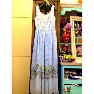 🚚 降價!日本池袋百貨購入🇯🇵日貨水藍背綁帶蝴蝶結花柄女神長洋裝