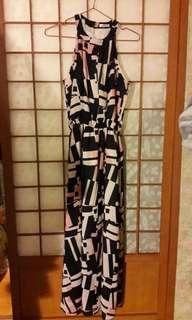 🚚 全新韓國購入 削肩幾何圖形長洋裝