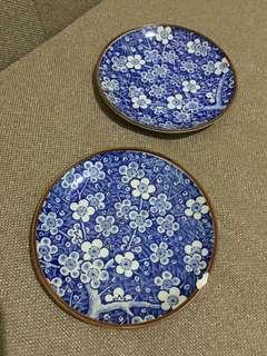2 pcs Blue Sakura small plate (1 with small chip)