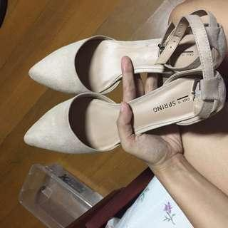 Call it Spring Suede Nude Heels