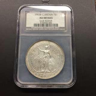 British Trade Dollar 1903 B AU details coin