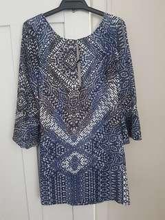 Isla Talulah Boho Print Shift Dress sz XS