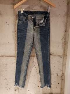 正韓撞色設計窄管牛仔褲