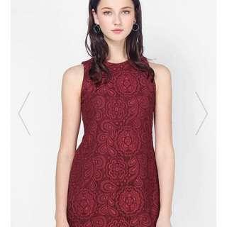 Fayth lace dress in maroon