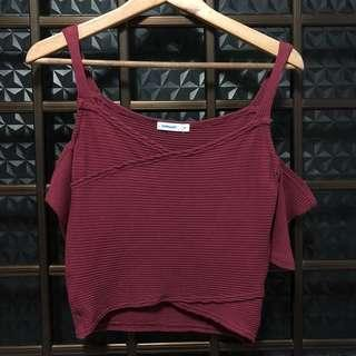Temt Maroon Off Shoulder Top