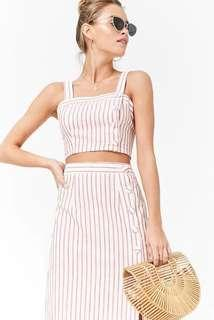 Forever 21 Striped Linen-Blend Crop Cami and Skirt Set in Red