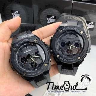 100% Authentic Casio Couple Set Stealth Black Tough Solar GSTEEL Series Rare with FREE DELIVERY 📦