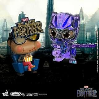MISB Hot Toys Cosbaby Black Panther Movbi And Black Panther (Translucent Purple With Sparklers) Marvel Black Panther Collectible Set