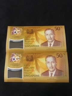 Cia 50th Years Anniversary Singapore $50 With 2 Run