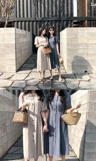 韓國自家牌子文青連衣裙 (米白/灰藍)