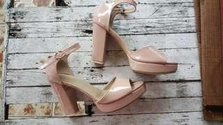 Repriced from Php 750! Nude Block Heels with Strap Size 7