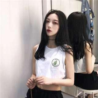 [PO] Basic White Avacado Sleeveless Top