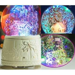 Crystal Music Box (Rotating, raining snowflakes with 7 colour LED lights) MP3 Bluetooth SD card