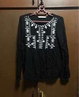 Zara embroidered long sleeves top