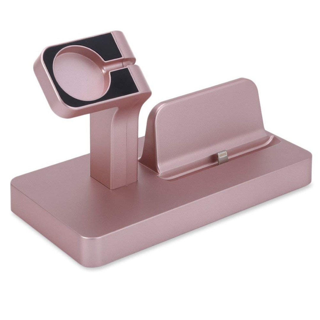 764  Apple Watch Stand, FACEVER Charging Dock For iWatch Series 3/2/1,  Charger Docking Station iPhone X 8 7 6 Plus 5 5C, iPod, Rose gold