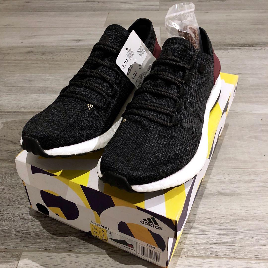 cd659a994 Adidas Pure Boost Black Burgundy UK9