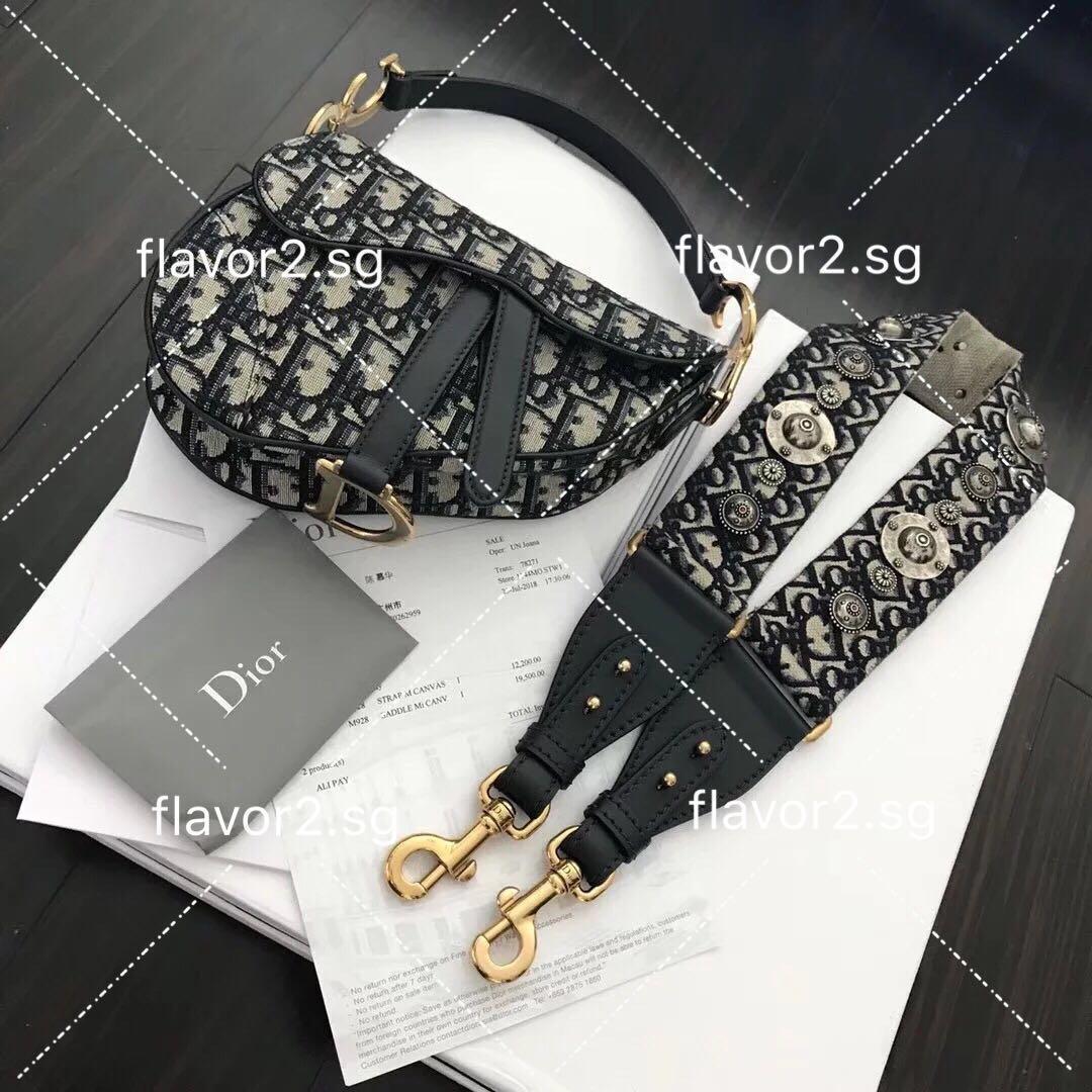 5b535c281d40 Authentic Dior Mini Saddle Bag in Blue Canvas + Blue Canvas Strap ...