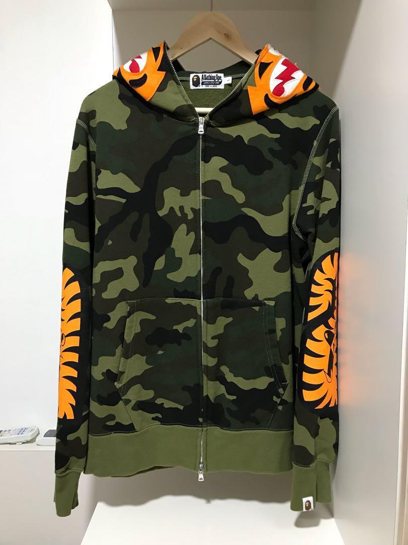 f59a23a893c9 Bape Camo Tiger Full Zip Hoodie