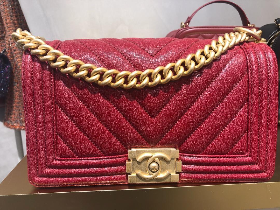 f385e17292add7 BNIB Chanel Boy Red Chevron with GHW, Luxury, Bags & Wallets ...